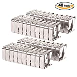 VEEYOO Set of 40 Adjustable Stainless Steel Tablecloth Clips Clamps Party Restaurant Picnic Outdoor Table Cloth Cover Holders, 1.97 x 1.57 inches, Silver