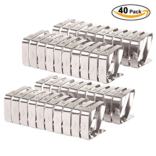 VEEYOO Set of 40 Adjustable Stainless Steel Tablecloth Cl...