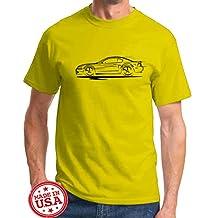 2003 2004 Ford SVT Cobra Mustang Coupe Redline Series Outline Design Tshirt XL yellow