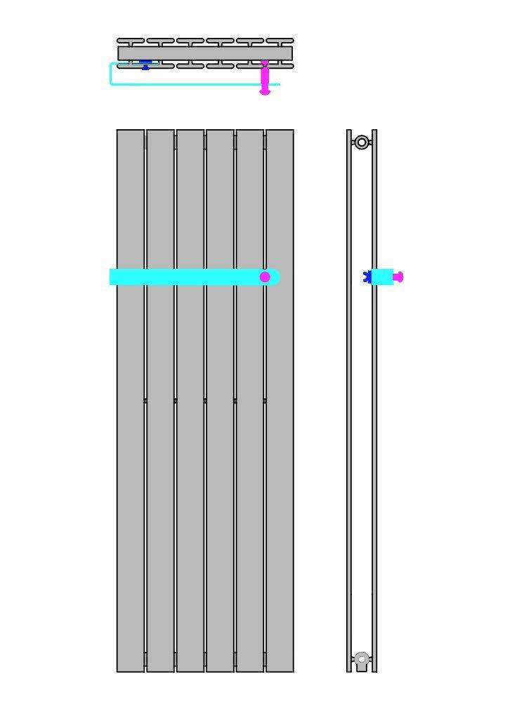 Edelstahl Handtuchhalter f/ür Design Paneelheizk/örper anthrazit ATLANTIS passend f/ür Breite 609 mm