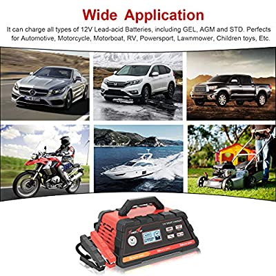 2/10/25A 12V Smart Battery Charger/Maintainer Fully Automatic with Engine Start, Cable Clamps: Automotive