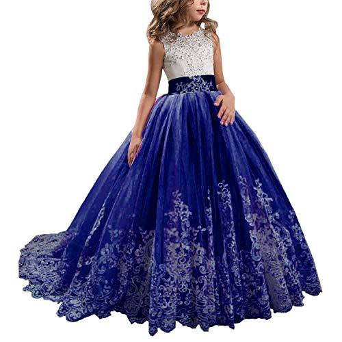 (KSDN Wedding Flower Girls Dresses Princess Gowns First Communion Pageant Gowns(US 12 Deep Royal Blue))