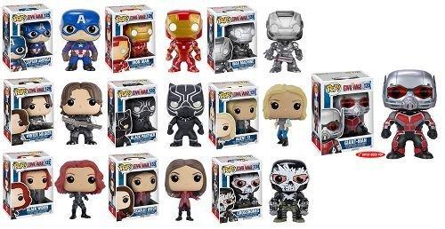 FUNKO POP! CAPTAIN AMERICA CIVIL WAR: Captain America, Giant-man, Iron Man, Black Widow, Scarlet Witch, Black Panther, Winter Soldier, War Machine, Agent 13 and Crossbones Vinyl Figures! Set of 10