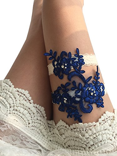 YuRong Wedding Garter Set Beaded Lace Garter Set Bridal Lace Garter Wedding Gift G01 (Royal blue)
