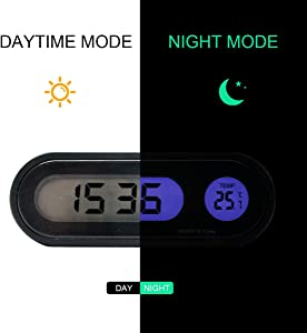 Maso Car Auto Digital Temperature Clock LED Clocks with Blacklight Adjustable Vehicle Temperature Gauge Support 12h/24h Transformation Modes