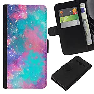 EJOY---La carpeta del tirón la caja de cuero de alta calidad de la PU Caso protector / Samsung Galaxy A3 / --cielo estrellas nebulosa universo trullo púrpura