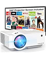 """Video Projector, Top vision 6500L Portable Mini Projector with 100"""" Projector Screen, 1080P Supported, Built in HI-FI Speakers, Compatible with Fire Stick, HDMI, VGA, USB, TF, AV, PS4"""