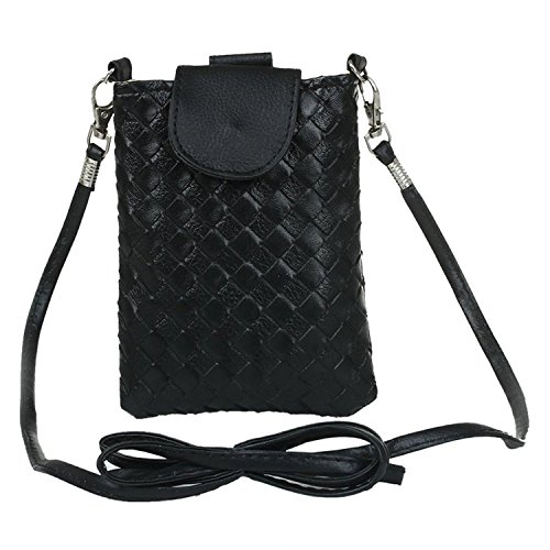 Purse Knitting Woman Black Leather Handbag strap R Nero Purse Purse bag TOOGOO to PU shoulder fxnA8w6q6