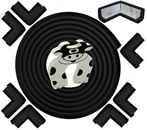 Edge & Corner Guard - 22.0ft [20.4ft Edging + 8 Pre-Taped Bumpers] - Extra Long - Black Onyx - Sharp Edge Furniture Protectors, Childproof Cushion Protection - Door Slammer Guard Included