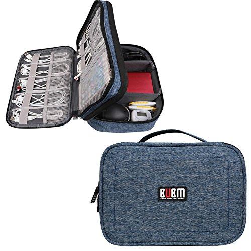 BUBM Mehrfachfunktion Kabelorganiser Tasche Reisetasche mit Doppelschichten für Elektronische Zubehöre wie Netzteil, Maus und USB Stricks, Denim Blau