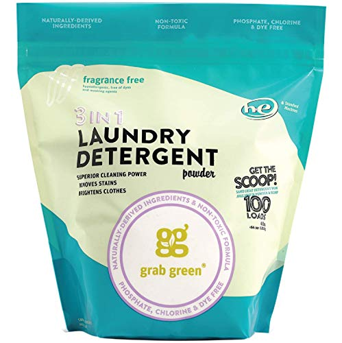 Grab Green Natural 3-in-1 Laundry Detergent Powder, Fragrance Free, 100 Loads (Best Organic Laundry Detergent 2019)