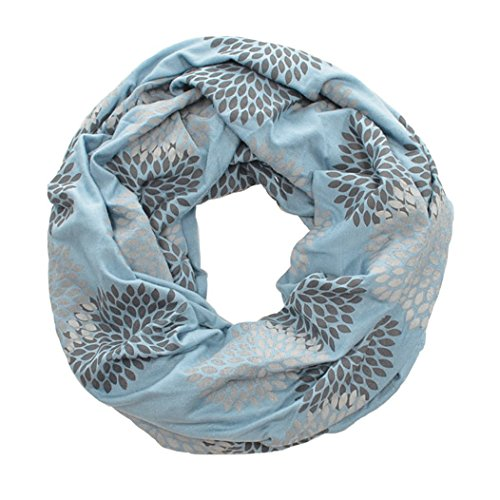 ORIGINAL INFINITY - Hand Printed - Gray Flowers on Cornflower Blue
