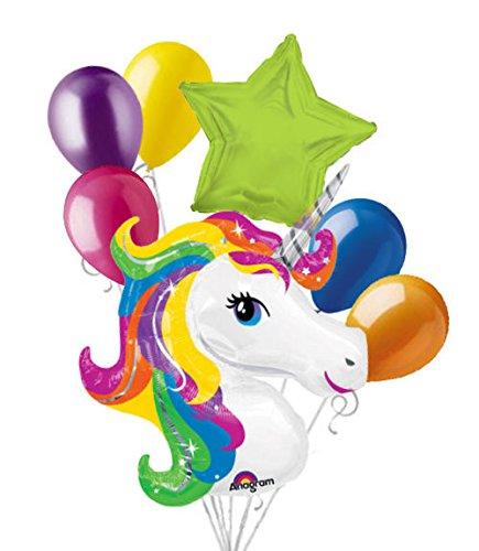 7pc Bright Rainbow Unicorn Happy Birthday Balloon Bouquet