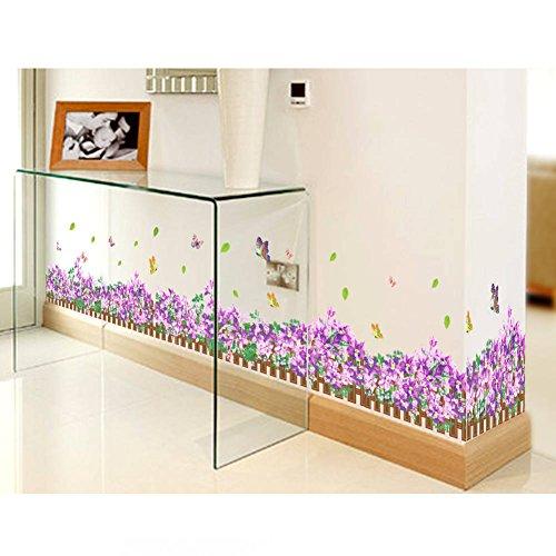 - BIBITIME Garden Fence Border Decorative Purple Flower Wall Decals Butterfly Vinyl Skirting Sticker for Living Room Wallpaper Kitchen Bathroom Shop Showcase Window DIY