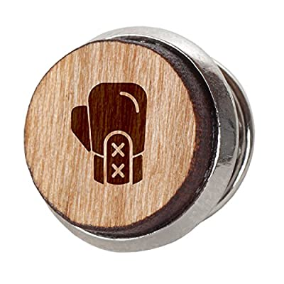 Boxing Glove Stylish Cherry Wood Tie Tack- 12Mm Simple Tie Clip with Laser Engraved Design - Engraved Tie Tack Gift