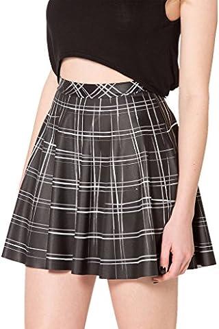 Plaid Skirt - Women Stretchy Printed Pleated Skater Mini Skirts Plus Size by TOFLY Black XL - Pleated Plaid Mini