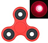 US Seller ~Light Glowing Tri Fidget Hand Finger Spinner Toy For Stress Reducer / Anxiety Relieves (Perfect For ADD, ADHD, Anxiety, and Autism Adult) Color Red ~ Cafolo