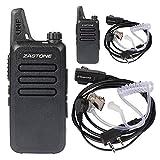Zastone X6 Walkie Talkie UHF 400-470 MHz MINI-handheld Two Way Radio Transceiver 2 Pack + 2 PCS Zastone 2-Pin Covert Air Acoustic Earpiece Headset