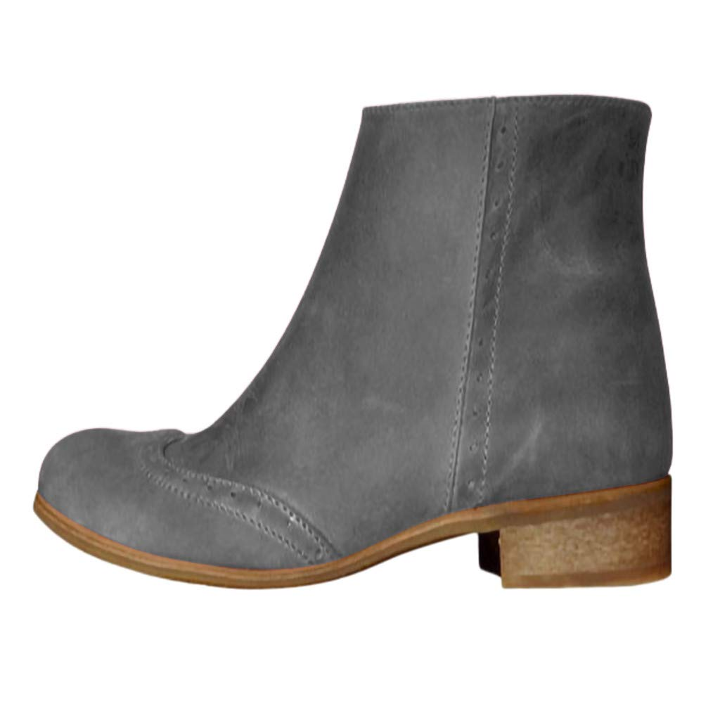 Hunauoo Flats Ankle Boots for Women Modern Round Toe Low-Heele Zipper Western Roman Knight Shoes Gray by Hunauoo Shoes
