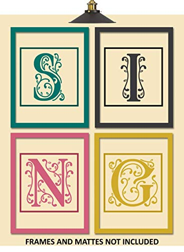 SING Letters Vocal Studio Decor Art Prints - Set of 4 8 x 10 Unframed Prints - Great Gift for Singers and Choirs - Music Students and Teachers Wall Art - Church Choir Stand Artwork