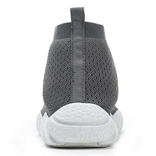 ESDY Herren Laufschuhe, leichte Breathable beiläufige Sport-gehende Schuhe Mode Turnschuhe Grau weiß