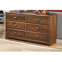 Ashley Furniture Signature Design - Barchan Dresser - 6 Drawer - Casual Replicated Cherry Grain - Medium Brown