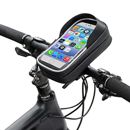 RockBros Bike Phone Case Waterproof Bicycle Phone Mount Bag Touch Screen Handlebar Phone Holder Pouch for Cellphone Below 6.0 Inches ()