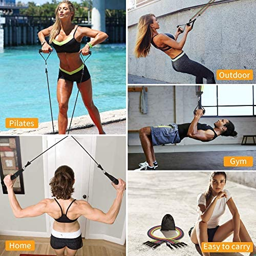 BESWILL Resistance Bands,Exercise Bands 150LBS,Workout Bands with Handles/Door Anchor/Legs Ankle Straps/Waterproof Carry Bag for Muscle Training,Physical Therapy,Pilates,Yoga