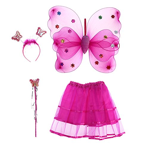 Tinksky 4pcs/set Angle Girls Fairy Costumes Dual-layer Headband Wand Tutu Skirt Set, Christmas Birthday Gift for Children(Rose Red) -