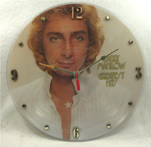 """It's Our Earth BARRY MANILOW Recycled Vinyl Record Clock – """"Greatest Hits"""" (1978) Picture Disc (Recycled Vinyl Record)"""