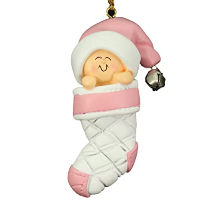 babys first christmas pink girl in stocking christmas tree ornament