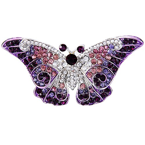 (EVER FAITH Women's Austrian Crystal Cute Butterfly Insect Brooch Purple Silver-Tone)