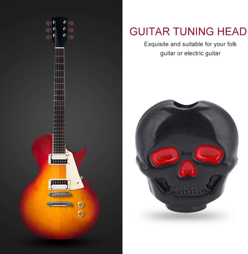 Black Skull Electric Guitar Tuners//Machine Heads 6pc 6R In-line Right