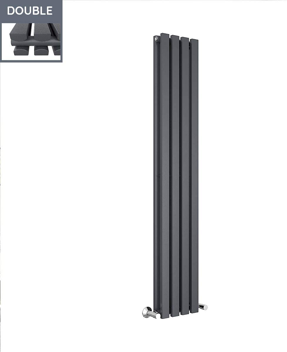 Kitchen Living Room Warmehaus 1600 x 480 mm Grey Anthracite Vertical Designer Radiator Double Rectangular Flat Panel Modern Central Heating Perfect for Bathroom