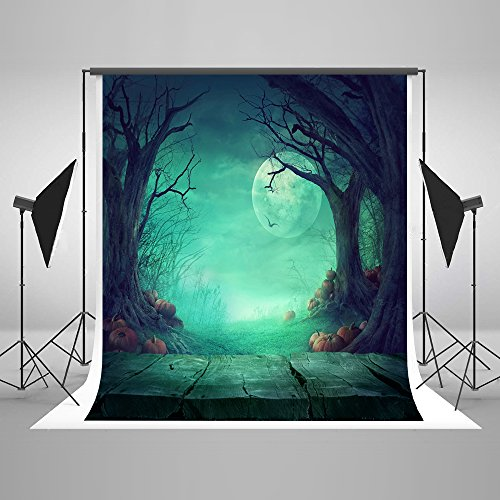 (5x7ft Microfiber Halloween Moon Pumpkins Wood Floor Party Decorations Photo Backdrop Seamless Folding and Washable No Creases Photography Booth Background)