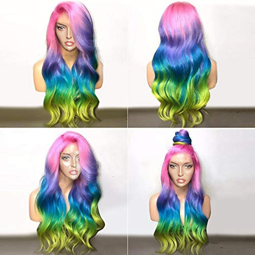 BlueSpace Synthetic Wigs Rainbow Color Long Curly Wave Wig Ombre Side Part Anime Cosplay Halloween Costume Wig with Free Wig Cap for Women ()