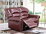 Meridian Furniture Nailhead Reclining Loveseat, Burgundy