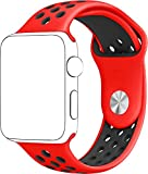 SELLERS360 Soft Durable Nike + Sport Replacement Wrist Strap for iWatch Series 1 Series 2 Apple watch band (Red/Black 42mm M/L)