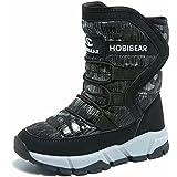 GUBARUN Boys Snow Boots Kids Outdoor Warm Shoes Waterproof (Black1, 1.5)