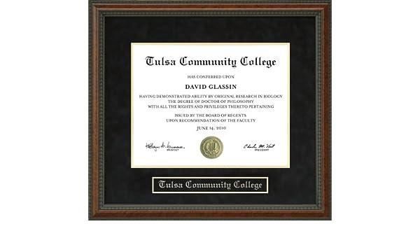 Amazon.com - Tulsa Community College (TCC) Diploma Frame - Burl -