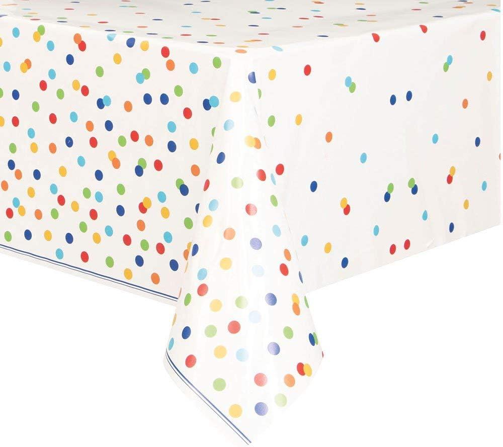 Unique Party 58253, Mantel de plástico para fiesta, diseño de lunares de colores, 1.37 x 2.13 metros