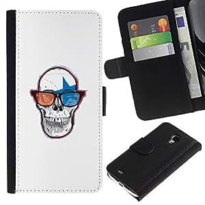 JackGot ( Cráneo Gafas 3D ) Samsung Galaxy S4 Mini i9190 (NOT S4) la tarjeta de Crédito Slots PU Funda de cuero Monedero caso cubierta de piel