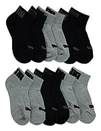 "Puma Boys' ""Ribbed & Textured Logo"" 6-Pack Quarter Crew Socks"