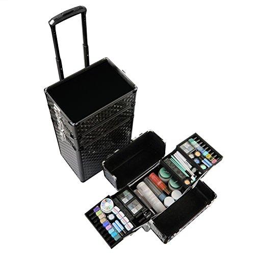 Qivange Makeup Train Case,4 in 1 Professional Rolling Makeup Trolley Case Aluminum Artists Jewelry Cosmetic Storage Case/w 2 Wheels(Diamond Black) by Qivange (Image #3)