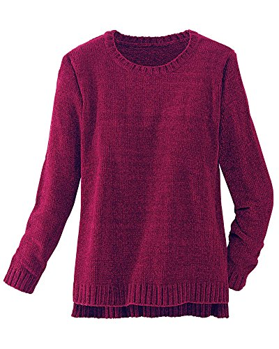 Acrylic Chenille Sweater - National Chenille Sweater, Black Cherry, 1X