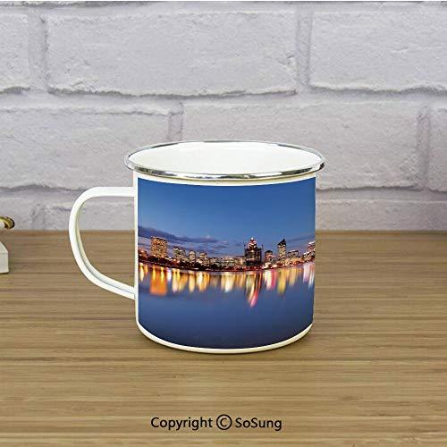 Modern Enamel Coffee Mug,Skyline of Perth Western Australia at Night Dramatic Urban Swan River Scenery Decorative,11 oz Practical Cup for Kitchen, Campfire, Home, TravelViolet Blue Amber ()