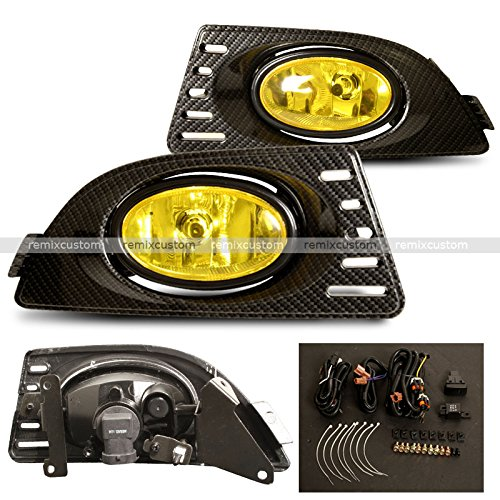 (05 06 07 Acura RSX DC5 Carbon Looks Yellow Fog Light Lamps)