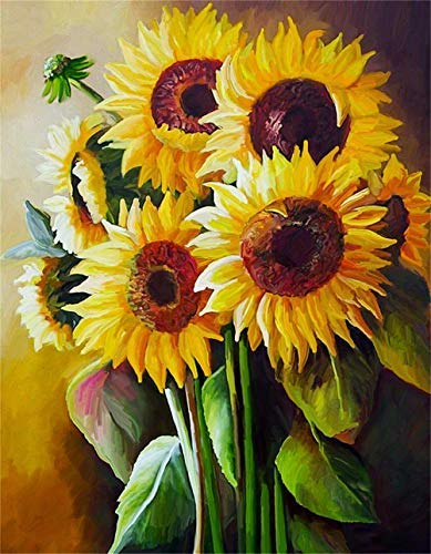 Diamond Painting Kits for Adults, 5D DIY Full Drill Diamond Art Kit with Ab Crystal Rhinestone,Paint with Diamond for Home Wall Decor Sunflower (Sunflower, 11.8x15.7Inch)