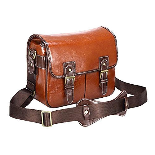 Generic Multi-function PU Leather Waterproof SLR DSLR Camera Bag Shoulder Bag Messenger Bag Outdoor Portable Photography Bag Video Bag Pouch for Travelling Hiking Mountaineering Camping - Coffee/L