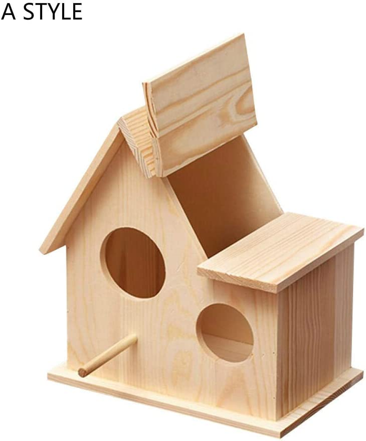 Comedero para pájaros de madera Comedero para pájaros Comedero para pájaros Decoraciones de arte al aire libre Comedero de gorriones salvajes Casa de pájaros rural